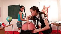 Schoolgirls spank and toy fuck his ass in class