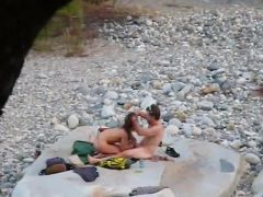 nude horny couple at the river