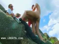 Amazing double sexing outside with teen