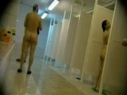 Sexy young babes are naked in the shower
